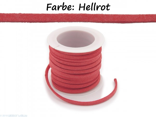 Kunstlederband in Wildlederoptik Hellrot 5m lang 1,5mm dick 3mm breit