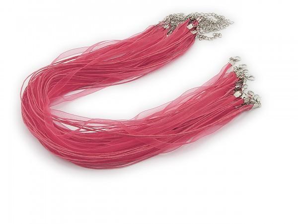 Halskette Organzaband Schleifenband Schmuckband Kette * Himbeere *