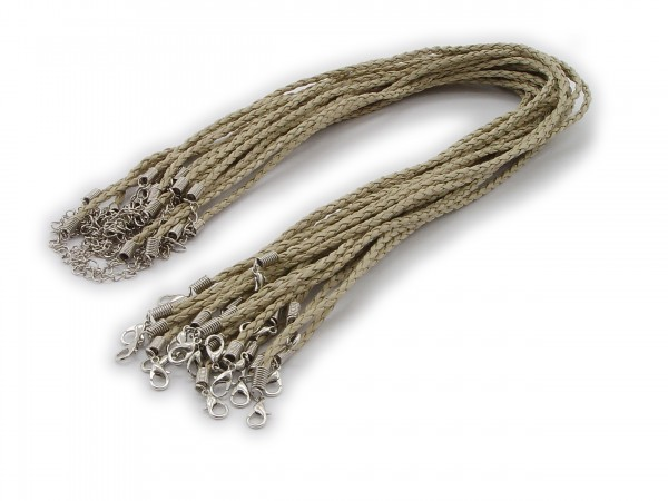Halsband aus geflochtenem Kunstleder Taupe