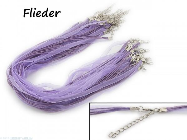 Halskette Organzaband Schleifenband Schmuckband Kette * Flieder *