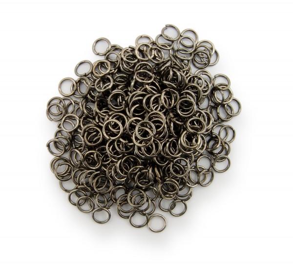 Binderinge / jump Rings 5mm Durchmesser Schwarz / gunmetal 15g ca.350 Stk