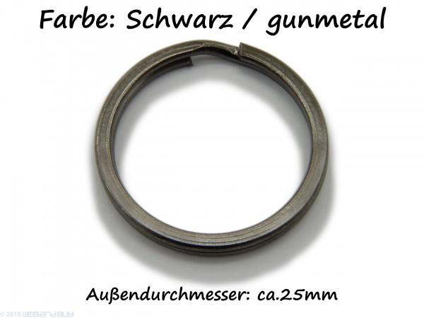 Schlüsselring / split Ring 25 mm Durchmesser Schwarz / gunmetal