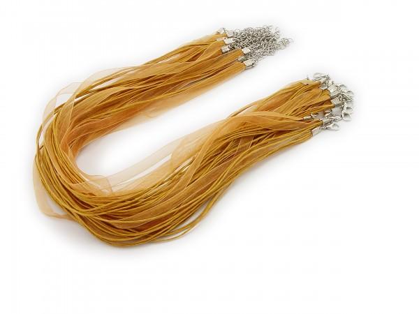 2 Halsbänder Organzaband Schleifenband Schmuckband Kette * Farbe: Messing *