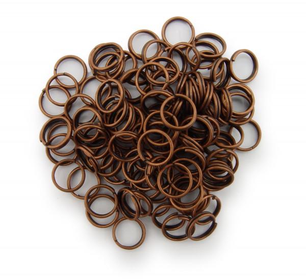 Schlüsselringe / split Rings 8mm Durchmesser Farbe Antik Kupfer 50g ca.350 Stk
