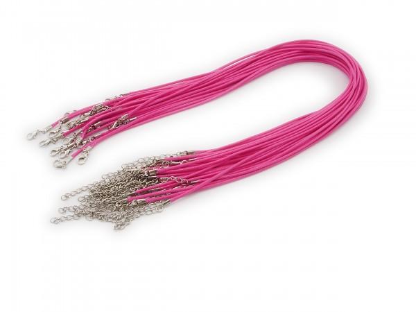 2 Halsbänder aus Wax Cord Pink mit Karabinerverschluss
