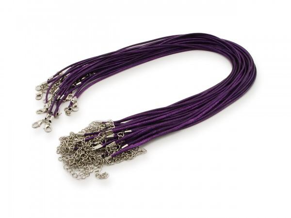 2 Halsbänder aus Wax Cord Veilchen mit Karabinerverschluss