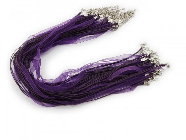 2 Halsbänder Organzaband Schleifenband Schmuckband Kette * Violett *