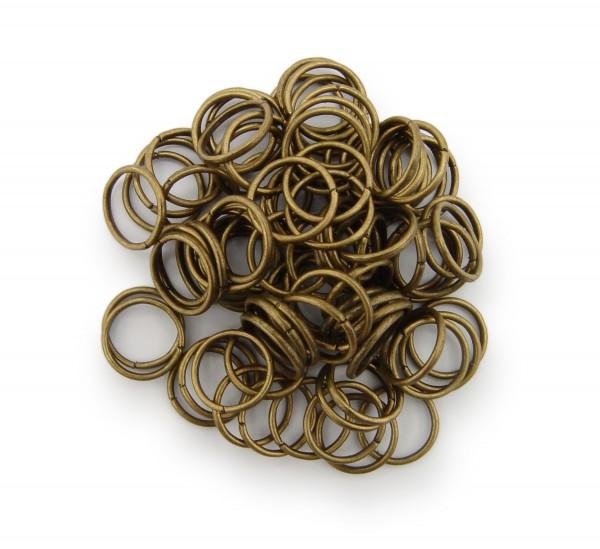 Binderinge / jump Rings 10mm Durchmesser Farbe Antik Bronze 15g ca.80 Stk