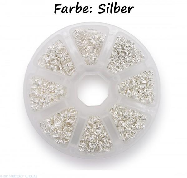 Schlüsselringe Set 4-10mm Durchmesser Farbe Silber