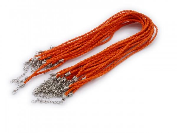 2 Halsbänder aus geflochtenem Kunstleder Orange