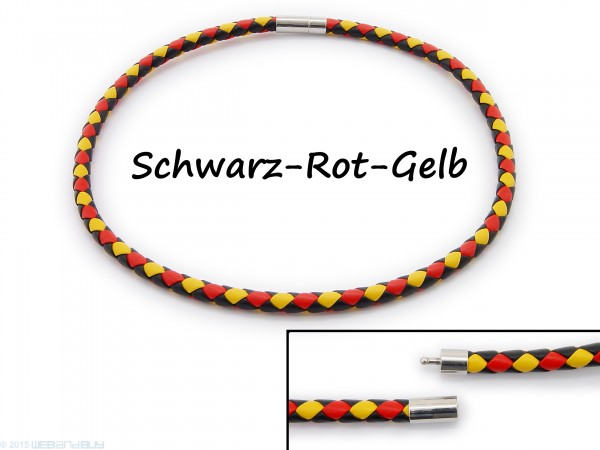 Halsband Halskette Halsreif aus Kunstleder geflochten Schwarz, Rot und Gelb