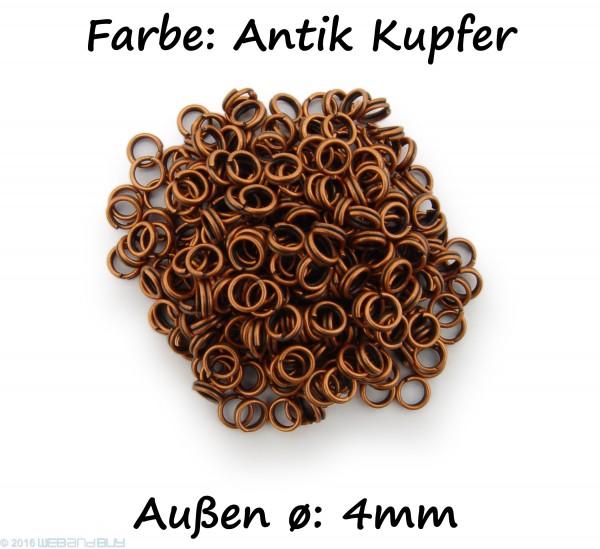 Schlüsselringe / split Rings 4mm Durchmesser Farbe Antik Kupfer 50g ca.950 Stk