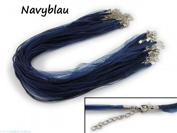 Halskette Organzaband Schleifenband Schmuckband Kette * Navyblau *