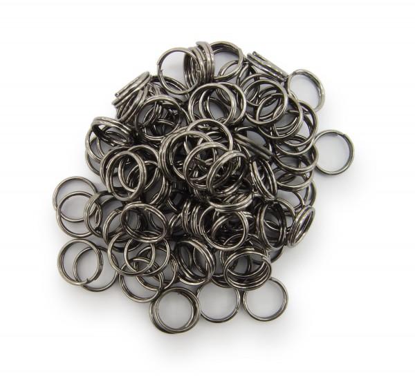 Schlüsselringe / split Rings 8mm Durchmesser Schwarz / gunmetal 50g ca.350 Stk