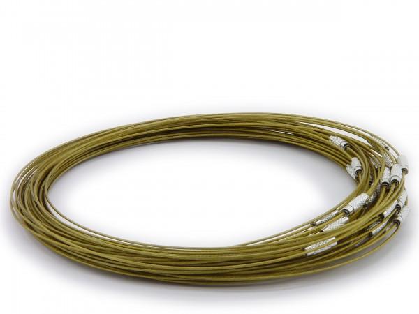 Halsreif aus Stahl ** Khaki ** Schraubverschluss ** Länge ca. 45 cm