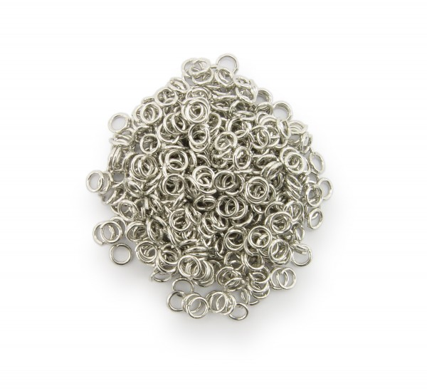 Binderinge / jump Rings 4mm Durchmesser Farbe Platin 15g ca.420 Stk