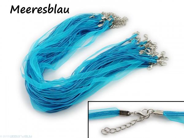Halskette Organzaband Schleifenband Schmuckband Kette * Meeresblau *