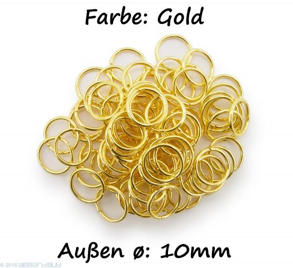 Binderinge / jump Rings 10mm Durchmesser Farbe Gold 50g ca.260 Stk