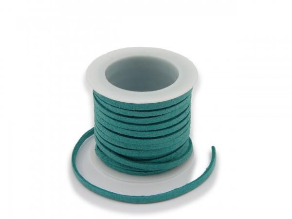 Kunstlederband in Wildlederoptik Türkis 5m lang 1,5mm dick 3mm breit