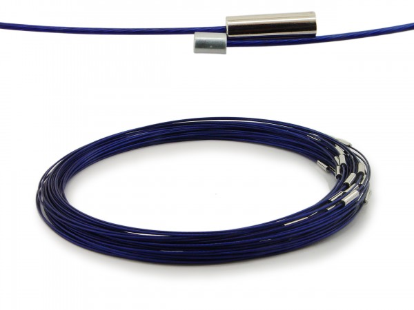 Halsreif aus Stahl Magnetverschluss Kornblumenblau Länge ca. 50 cm