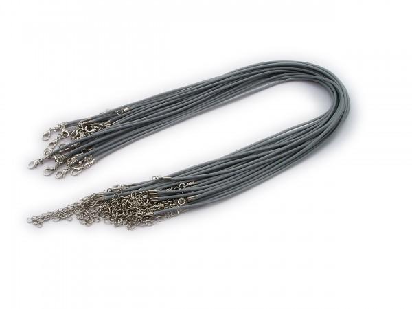 Halsband aus Wax Cord Grau mit Karabinerverschluss