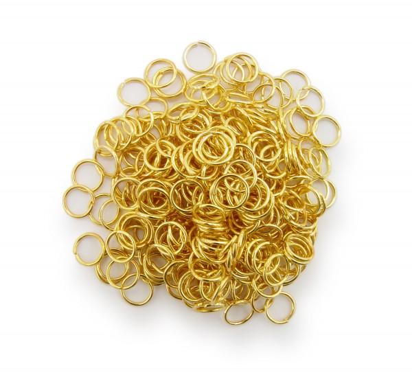 Binderinge / jump Rings 6mm Durchmesser Farbe Gold 15g ca.260 Stk