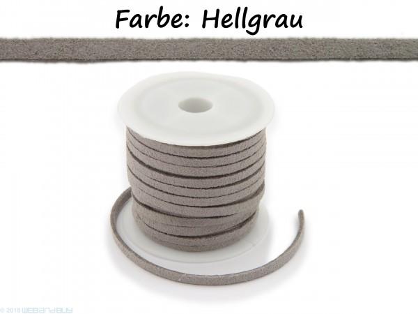 Kunstlederband in Wildlederoptik Hellgrau 5m lang 1,5mm dick 3mm breit