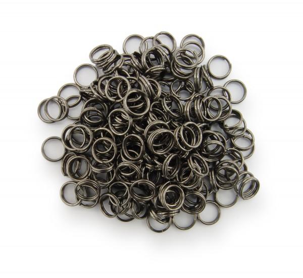 Schlüsselringe / split Rings 6mm Durchmesser Schwarz / gunmetal 50g ca.500 Stk