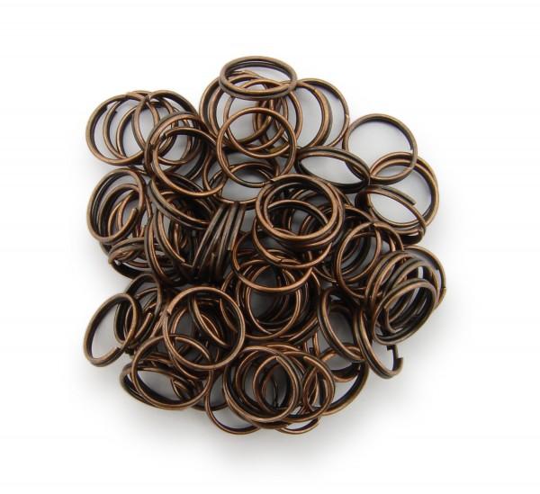 Schlüsselringe / split Rings 10mm Durchmesser Farbe Antik Kupfer 15g ca.80 Stk