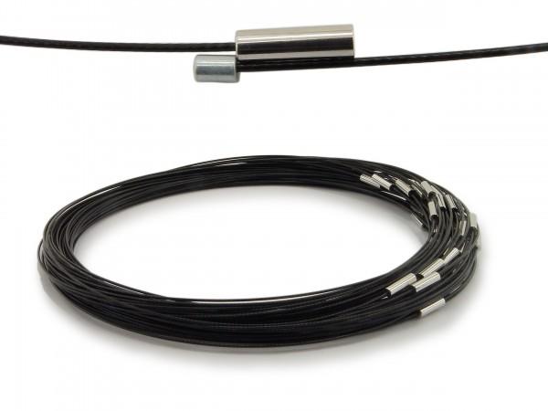 Halsreif aus Stahl Magnetverschluss Schwarz Länge ca. 50 cm