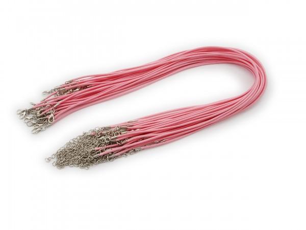 2 Halsbänder aus Wax Cord Rosa mit Karabinerverschluss