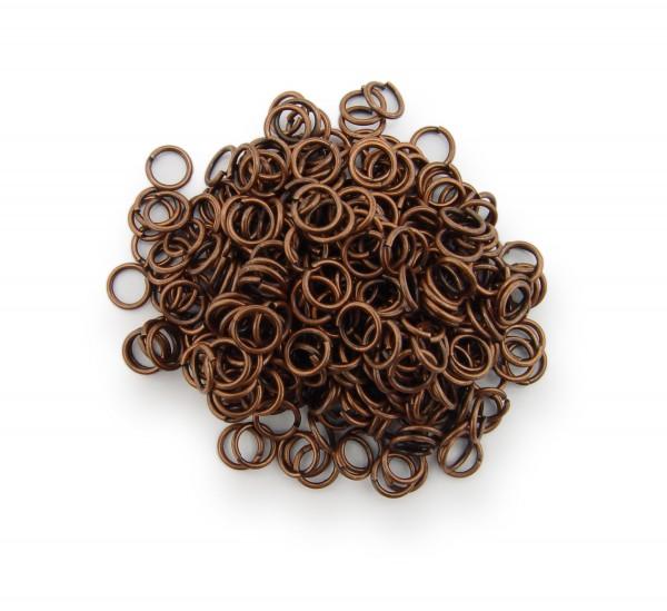 Binderinge / jump Rings 5mm Durchmesser Farbe Antik Kupfer 15g ca.350 Stk