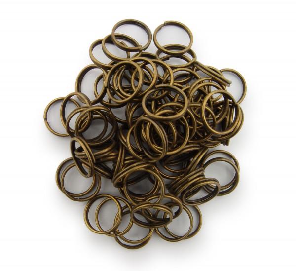 Schlüsselringe / split Rings 10mm Durchmesser Farbe Antik Bronze 50g ca.260 Stk
