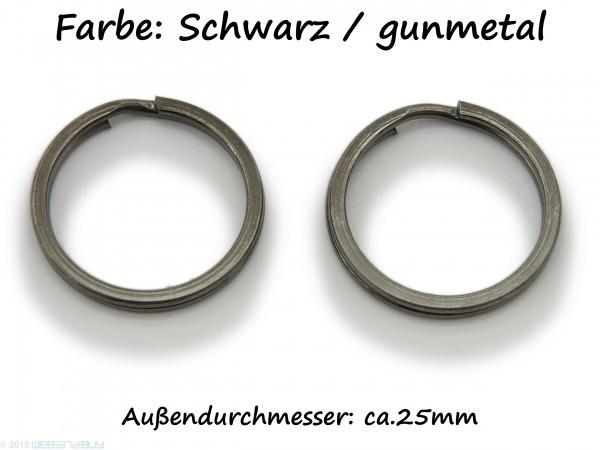 2 Schlüsselringe / split Rings 25 mm Durchmesser Farbe schwarz / gunmetal
