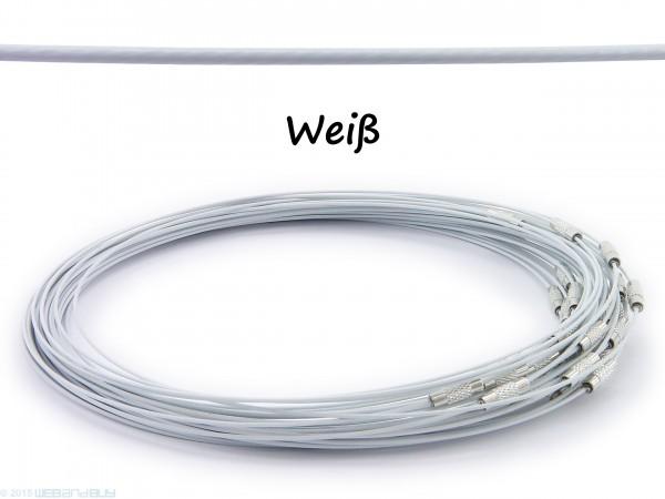 Halsreif aus Stahl ** Weiß ** Schraubverschluss ** Länge ca. 45 cm