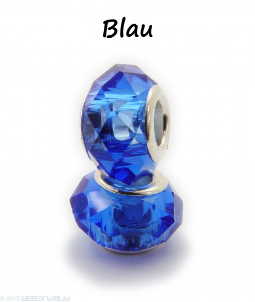 Facettierte Perle / Bead aus Glas 14 x 8 mm Farbe - Blau