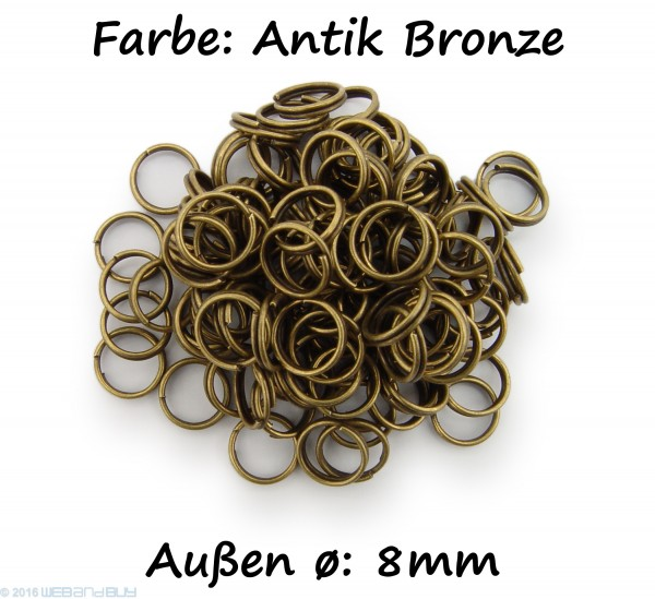 Schlüsselringe / split Rings 8mm Durchmesser Farbe Antik Bronze 15g ca.100 Stk