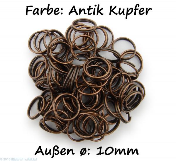Schlüsselringe / split Rings 10mm Durchmesser Farbe Antik Kupfer 50g ca.260 Stk