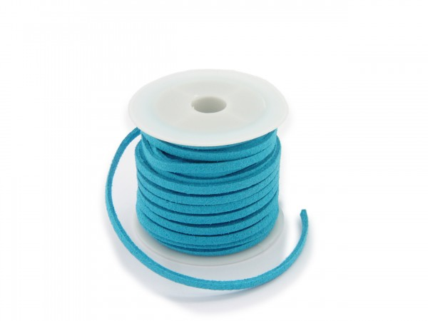 Kunstlederband in Wildlederoptik Hellblau 5m lang 1,5mm dick 3mm breit