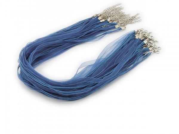 2 Halsbänder Organzaband Schleifenband Schmuckband Kette * Helles Jeansblau *