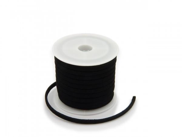 Kunstlederband in Wildlederoptik Schwarz 5m lang 1,5mm dick 3mm breit