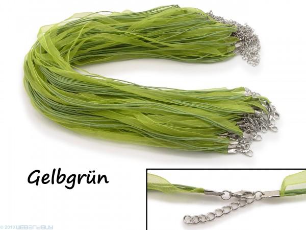 Halskette Organzaband 39cm Schleifenband Schmuckband Kette * Gelbgrün *