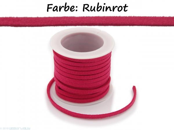 Kunstlederband in Wildlederoptik Rubinrot 5m lang 1,5mm dick 3mm breit