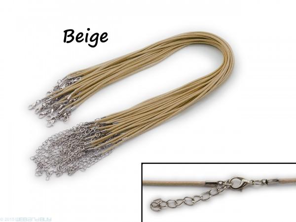 Halsband aus Wax Cord Beige mit Karabinerverschluss