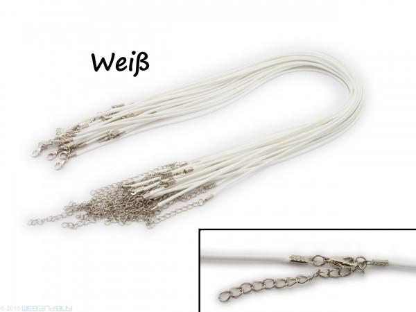 Halsband aus Wax Cord Weiß mit Karabinerverschluss