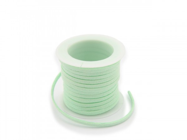 Kunstlederband in Wildlederoptik Hellgrün 5m lang 1,5mm dick 3mm breit