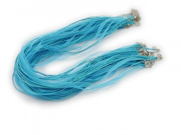 2 Halsbänder Organzaband Schleifenband Schmuckband Kette * Himmelblau *