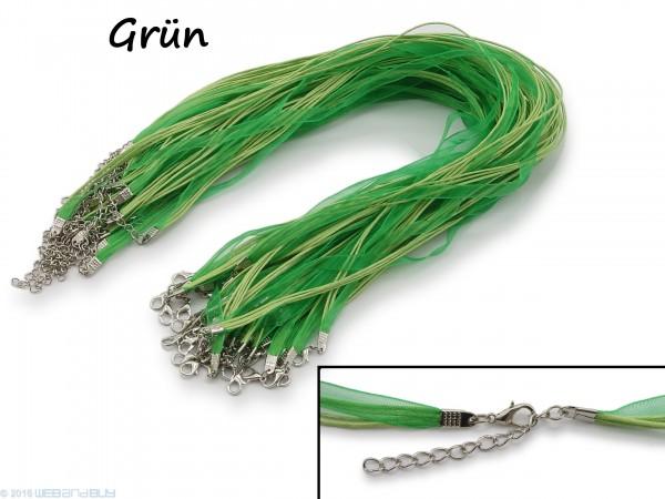 Halskette Organzaband Schleifenband Schmuckband Kette * Grün *