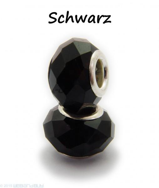 Facettierte Perle / Bead aus Glas 14 x 8 mm Farbe - Schwarz