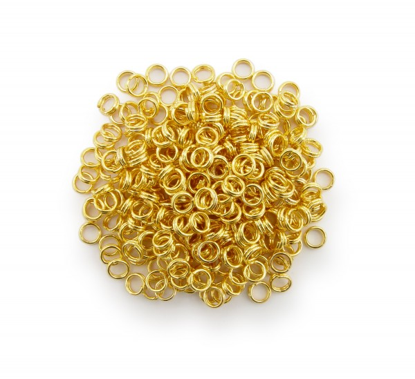 Schlüsselringe / split Rings 4mm Durchmesser Farbe Gold 15g ca.290 Stk